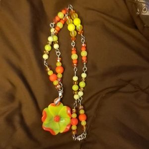 Jewelry - Orange and yellow flower necklace